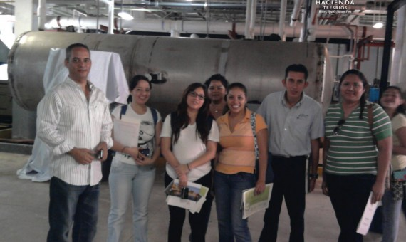 SW-University students visiting the machine room guided by Gabriel Santoyo Chief Enviromental Officer